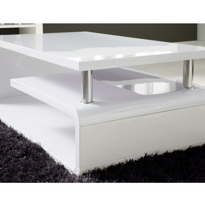 Tiffany white high gloss asymmetrical coffee table - How high is a coffee table ...