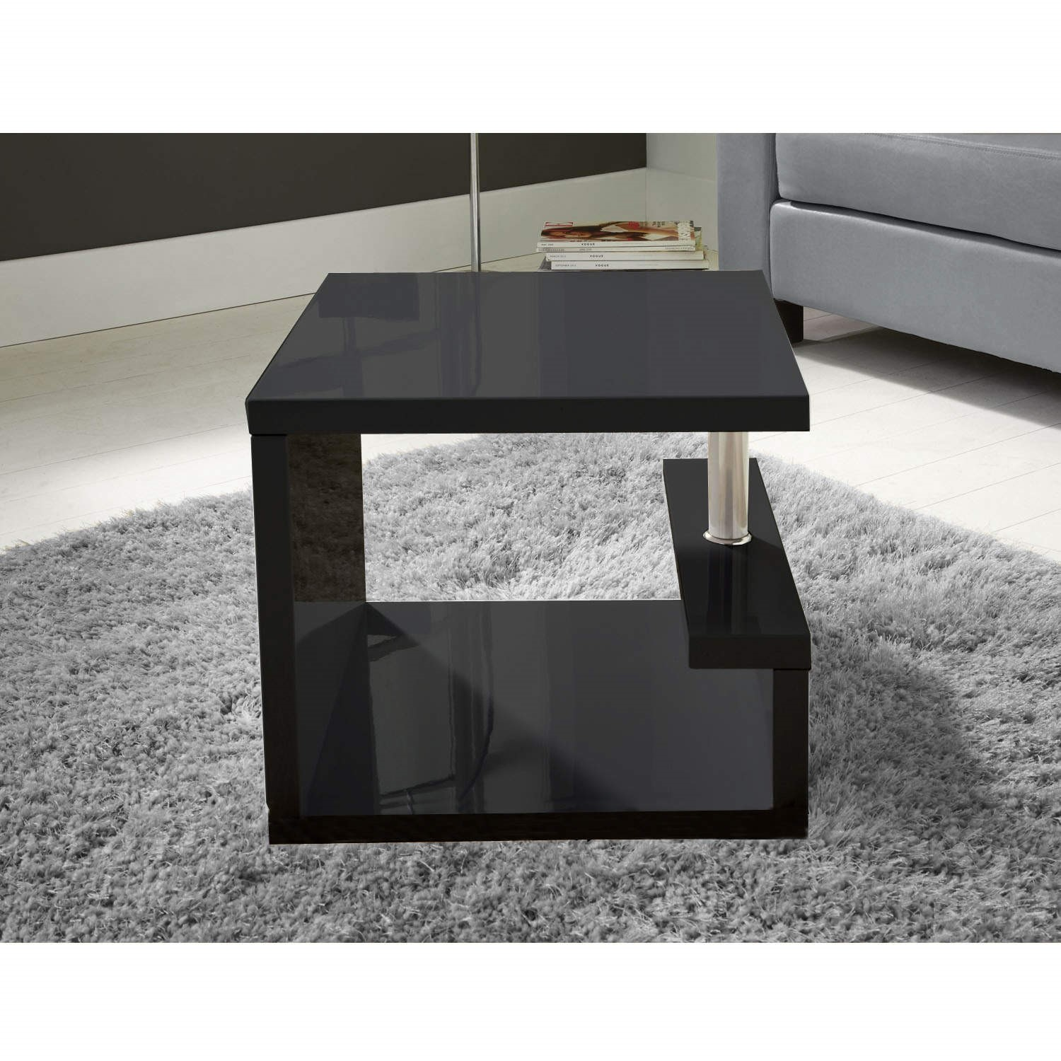 Attrayant High Gloss Square Black Side Table   Tiffany Range