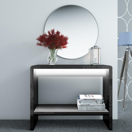 High Gloss Black Console Table with LED Lighting - Tiffany Range