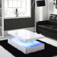 Tiffany White High Gloss Rectangular Coffee Table with LED Lighting