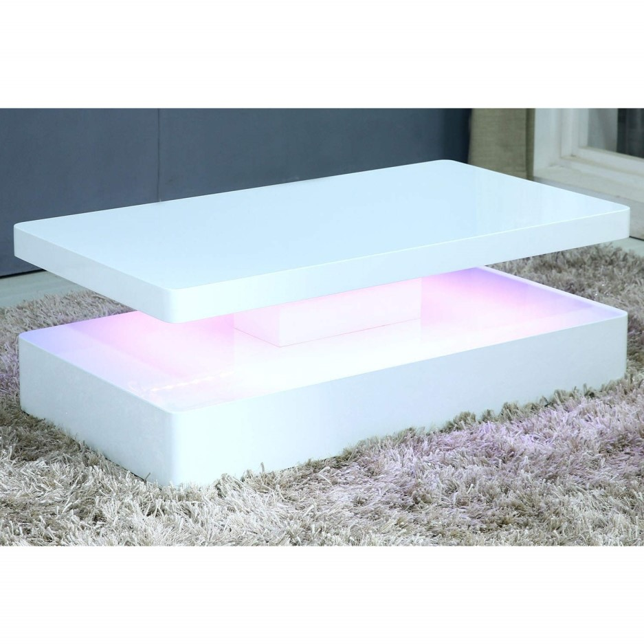 Tiffany white high gloss rectangular coffee table with led - How high is a coffee table ...