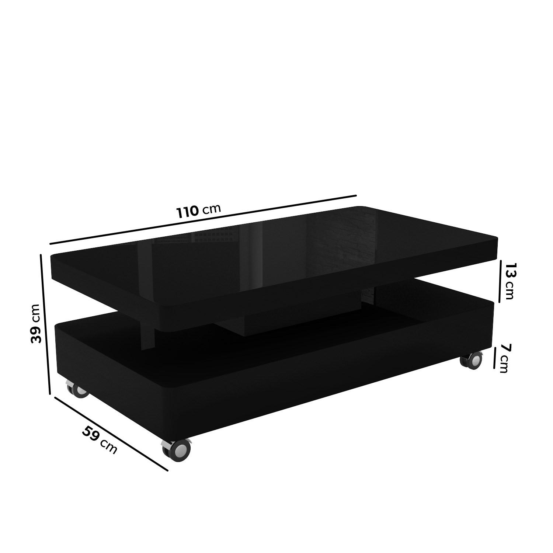 Rectangular Coffee Table in Black Gloss - Tiffany
