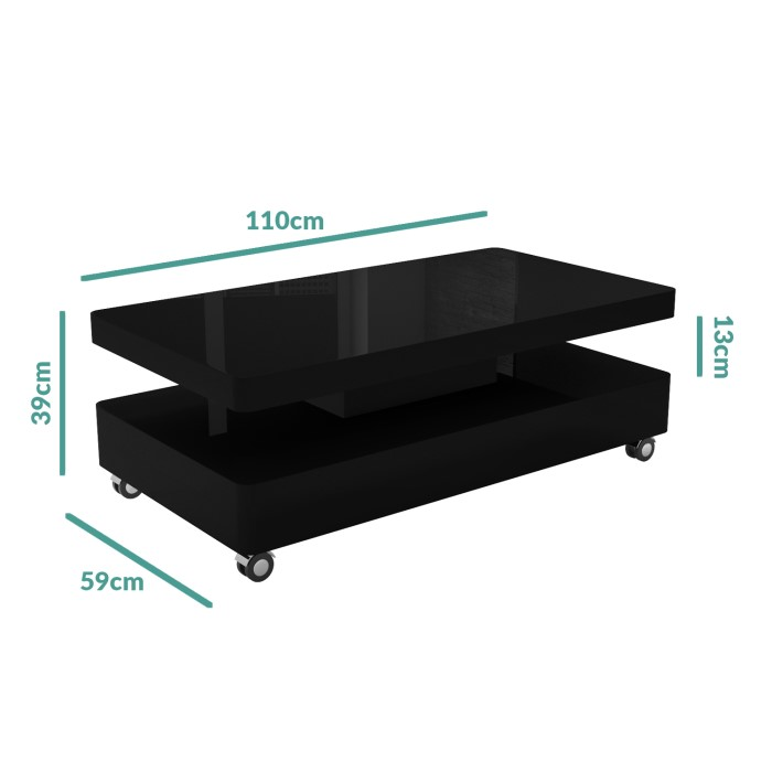 Rectangle High Gloss White Coffee Table With Led Lighting: High Gloss Black Coffee Table With LED Lighting