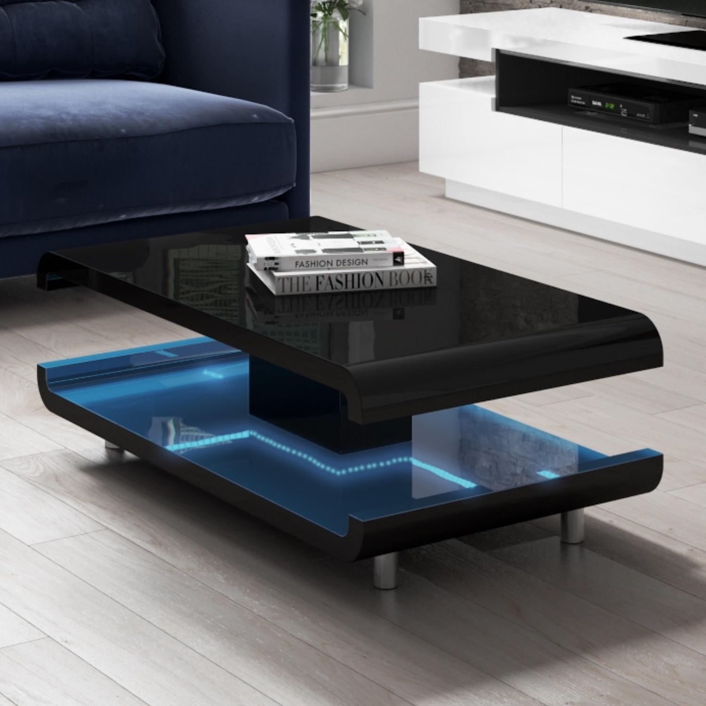 Gloss Black Coffee Table With Led Lighting Tiffany