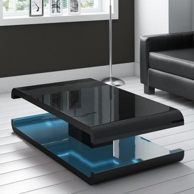 High Gloss Black Coffee Table with LED Lighting  Tiffany Range