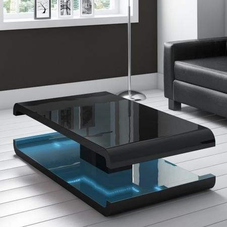 High Gloss Black Coffee Table With Led Lighting Tiffany