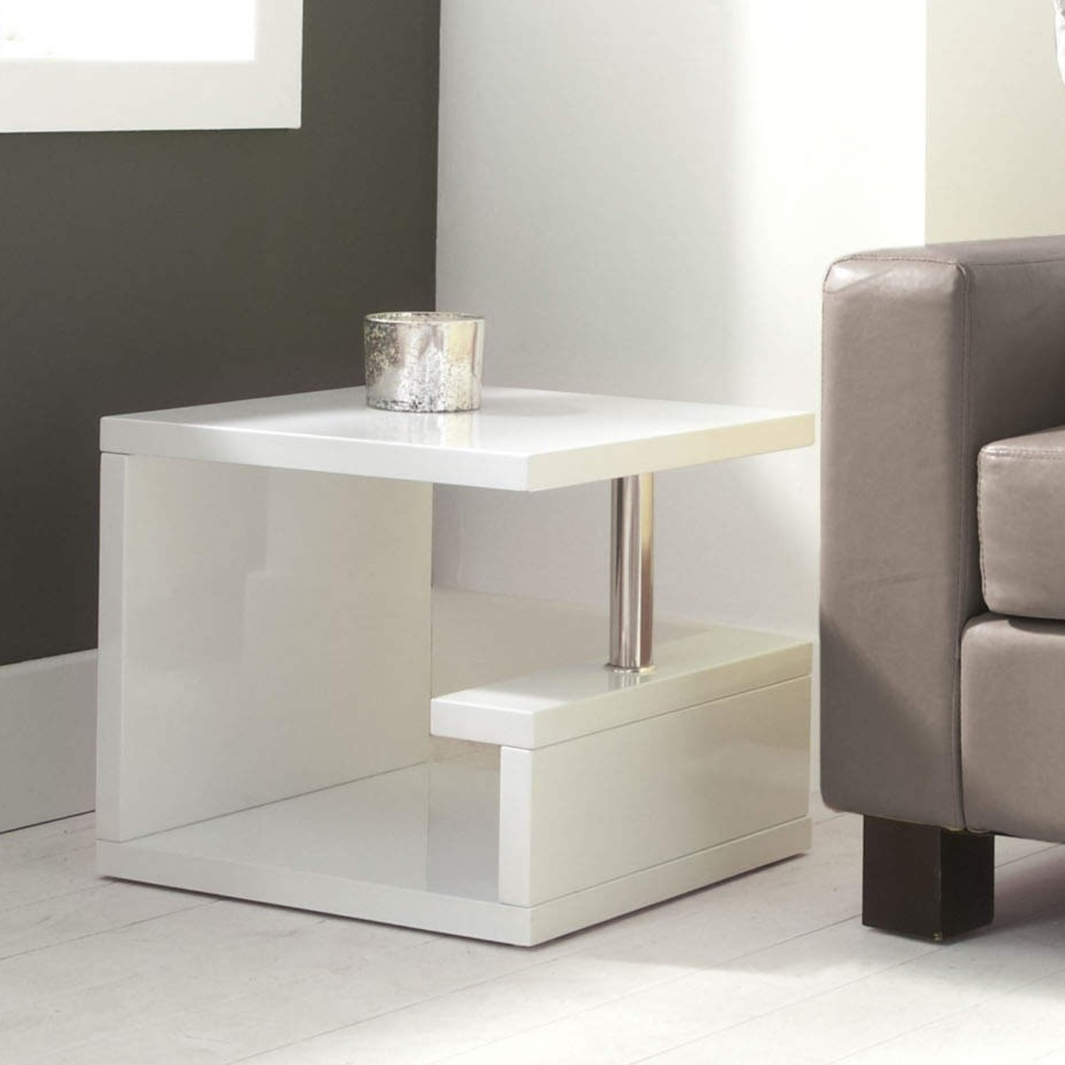 Artemis High Gloss White Side Table TIFF011