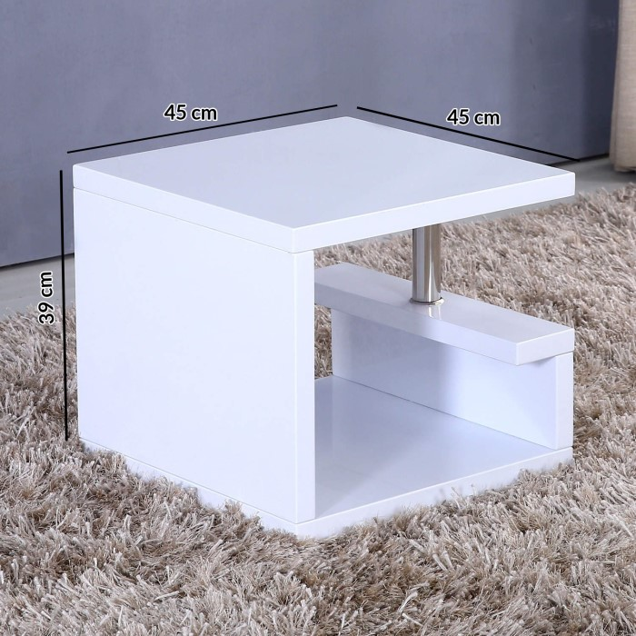 Grade a1 tiffany high gloss white square lamp table furniture123 grade a1 tiffany high gloss white square lamp table aloadofball Choice Image