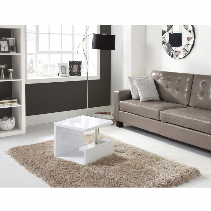 Artemis High Gloss White Side Table