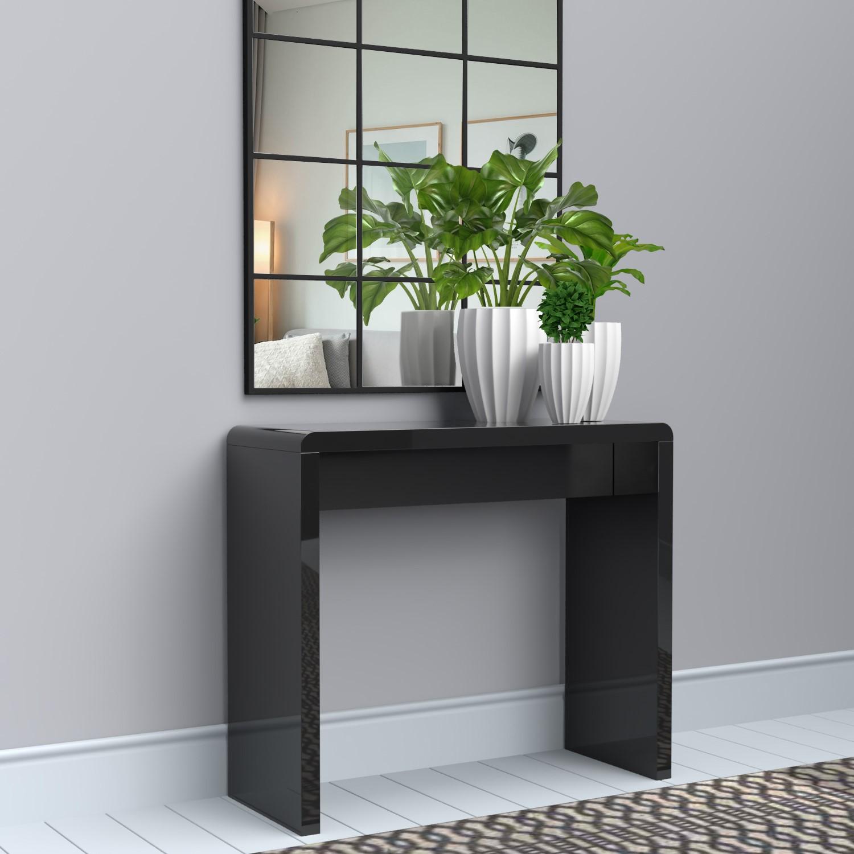 Tiffany Black High Gloss Narrow Console Table Furniture123