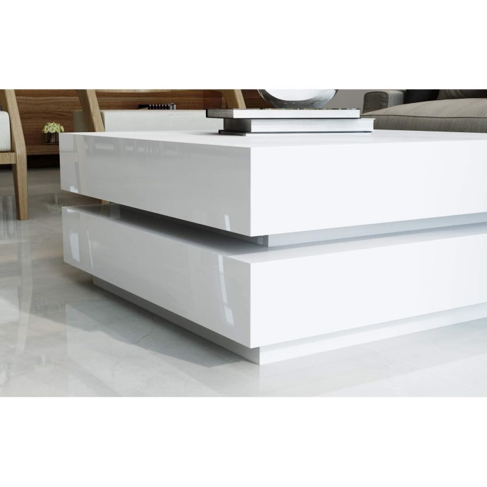 Tiffany White High Gloss Square Coffee Table Furniture: High Gloss White Coffee Table With LED Lighting