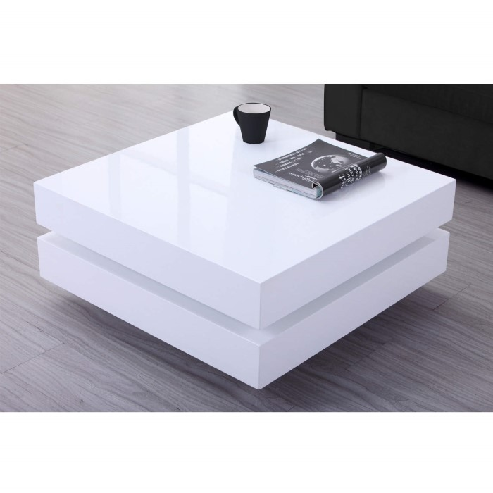 Contemporary Coffee Table In White High Gloss 8738: High Gloss White Coffee Table With LED Lighting