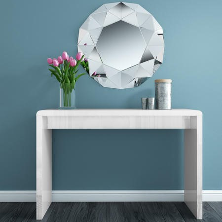 Large White Console Table in High Gloss - Tiffany