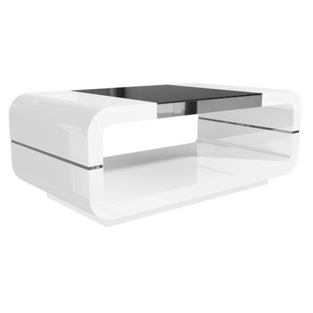 High Gloss White Curved Coffee Table with Black Glass Top - Tiffany Range