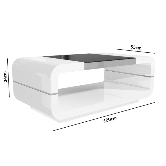 Straas Curved High Gloss Coffee Table In White: High Gloss White Curved Coffee Table With Black Glass Top