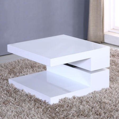 GRADE A1 - White Gloss Coffee Table with Rotating Top - Tiffany
