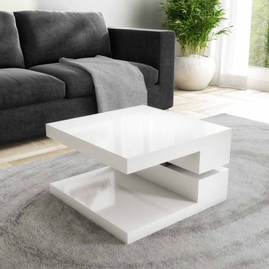 Tiffany white high gloss square rotating top coffee table - How high is a coffee table ...