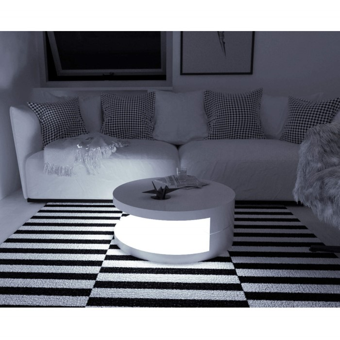Tiffany Led Round Top White High Gloss Coffee Table Xcm: Tiffany Led Round Top White High Gloss Coffee Table