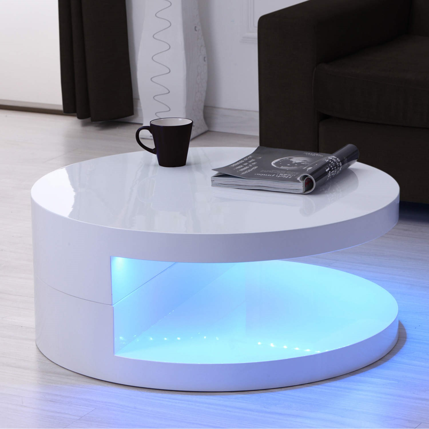- GRADE A1 - Tiffany LED Round Top White High Gloss Coffee Table