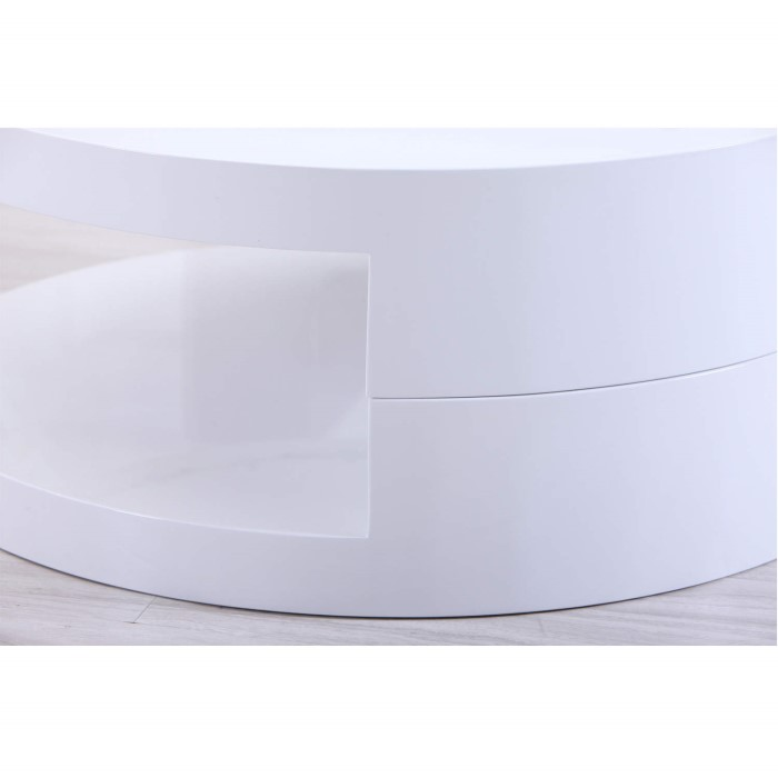 Tiffany White High Gloss Cubic Led Coffee Table Furniture: High Gloss Round White Coffee Table