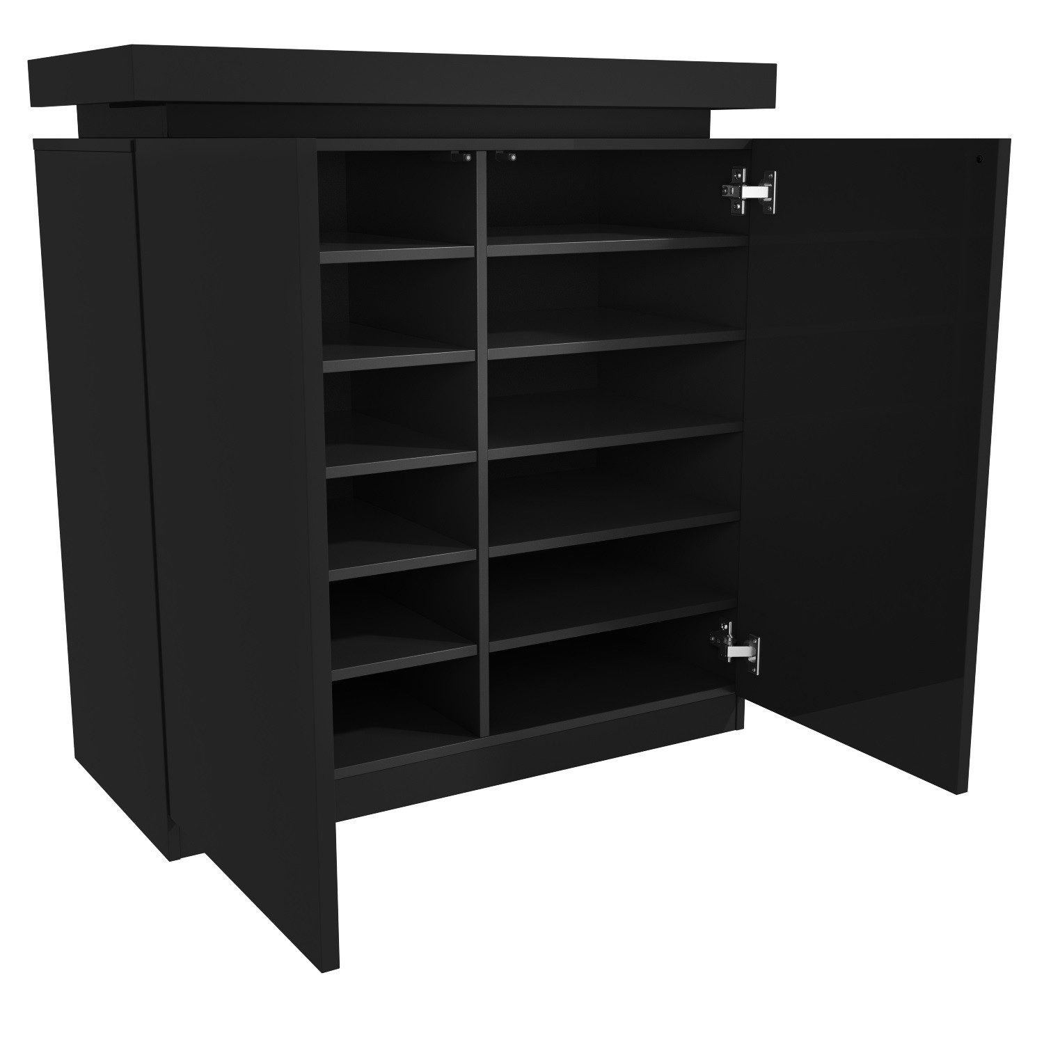 Black Gloss Shoe Cabinet with LED - 24