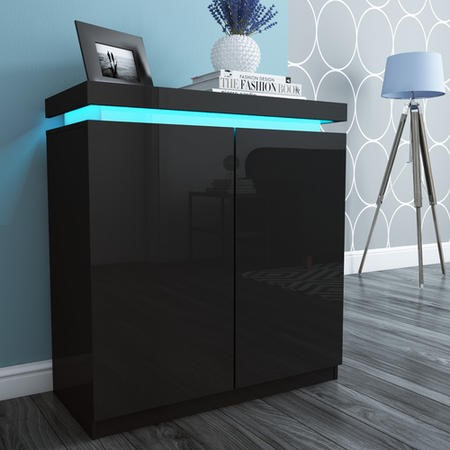 Tiffany Black High Gloss Shoe Storage Cabinet with LED Lighting - 24 Pairs