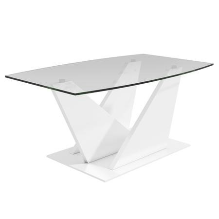 Glass Coffee Table with White Gloss Stand - Tiffany