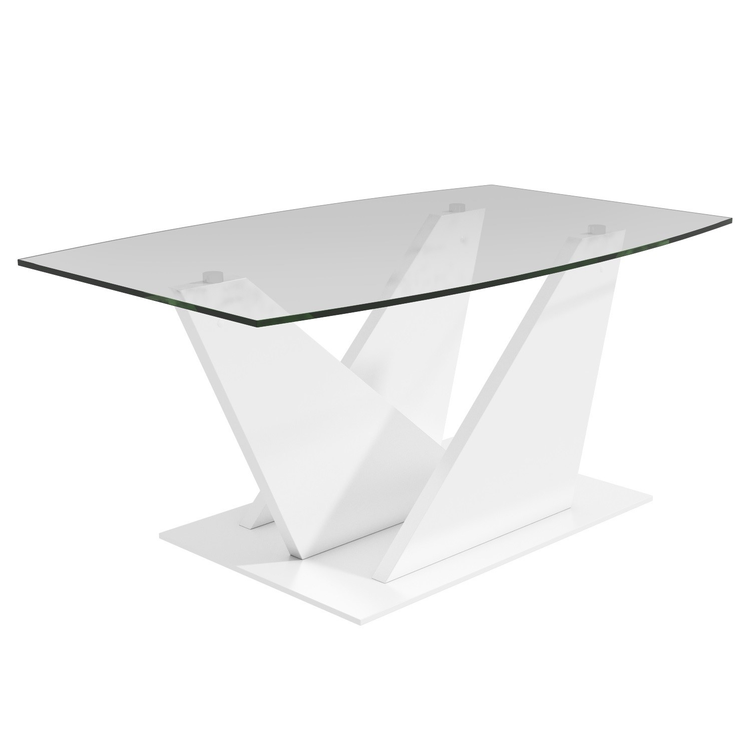 Glass Coffee Table with White Gloss Stand  Tiffany
