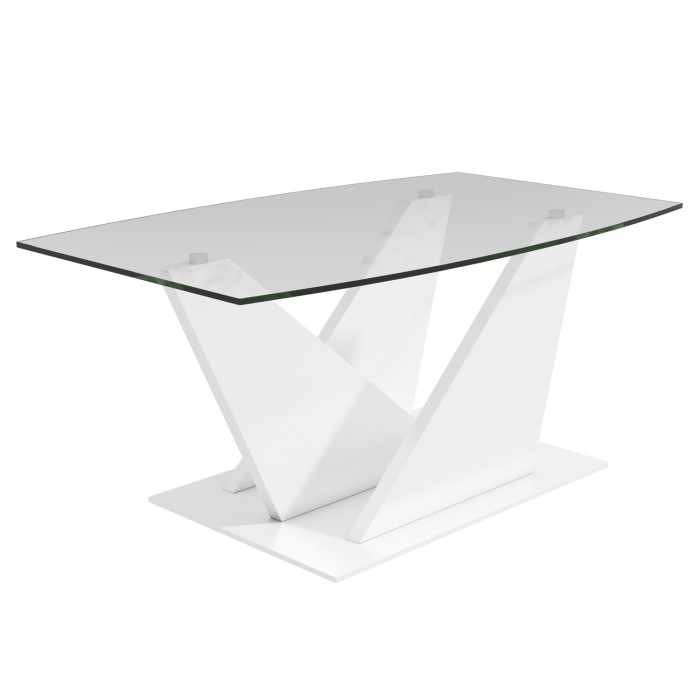 Tiffany White High Gloss Cubic Led Coffee Table Furniture: Glass Coffee Table With White High Gloss Stand