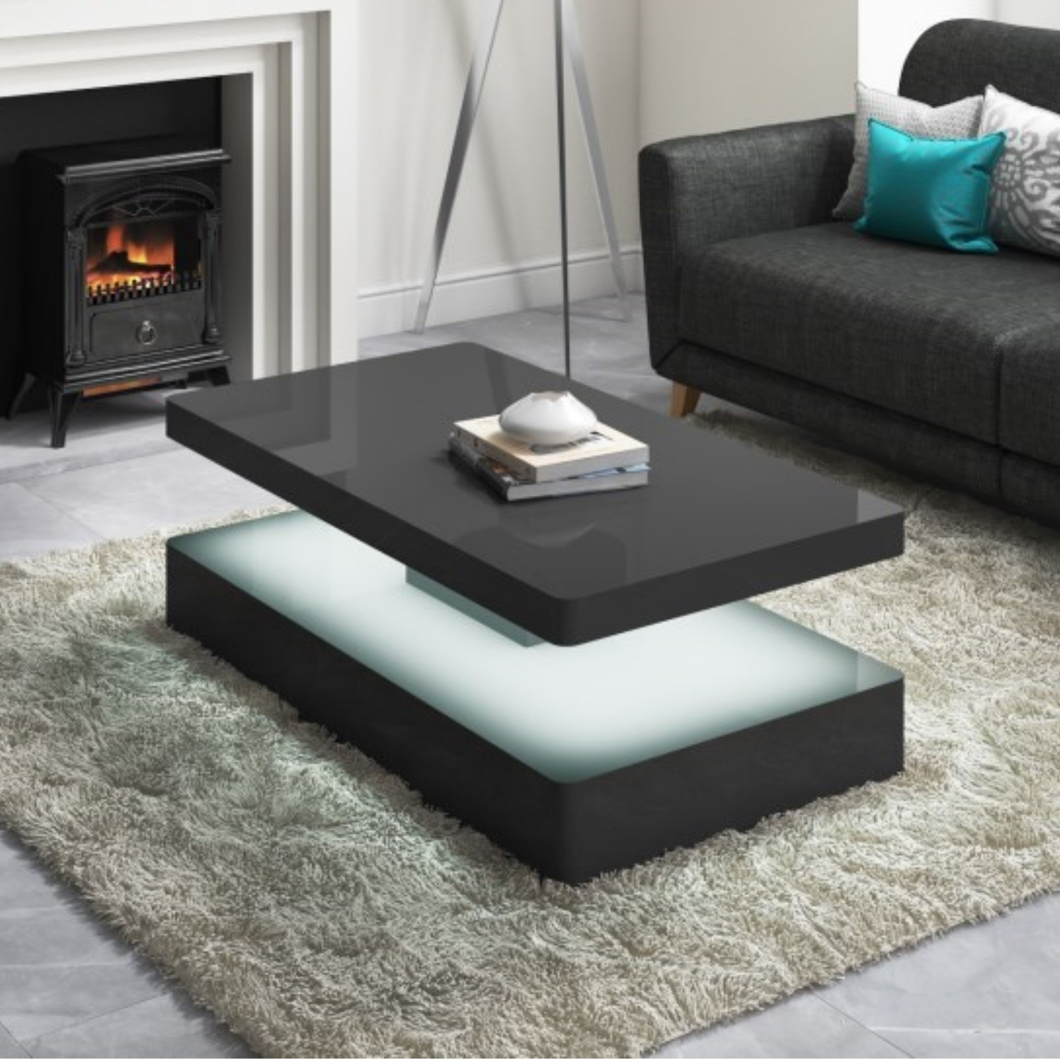 High Gloss Grey Coffee Table With LED Lighting   Tiffany Range