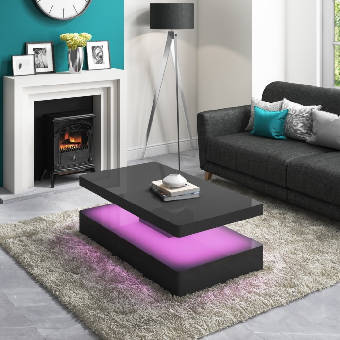 Rectangle High Gloss White Coffee Table With Led Lighting: High Gloss Grey Coffee Table With LED Lighting
