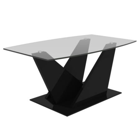 Glass Top Coffee Table with Black Gloss Base - Tiffany