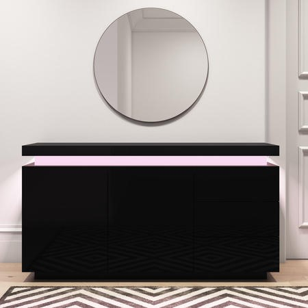 Black High Gloss Sideboard with LED Lights - Vivienne