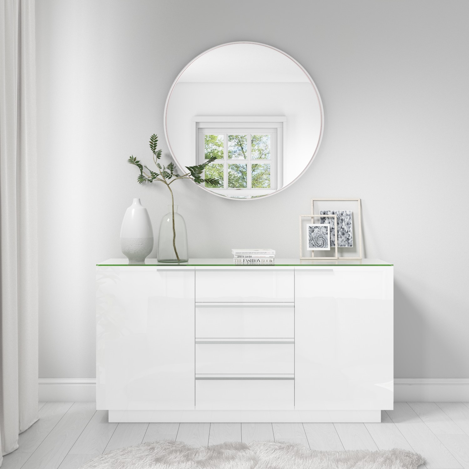 new styles 0e02d 1e987 Evoque White High Gloss Sideboard with Glass Top