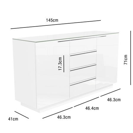 Evoque White High Gloss Sideboard with Glass Top