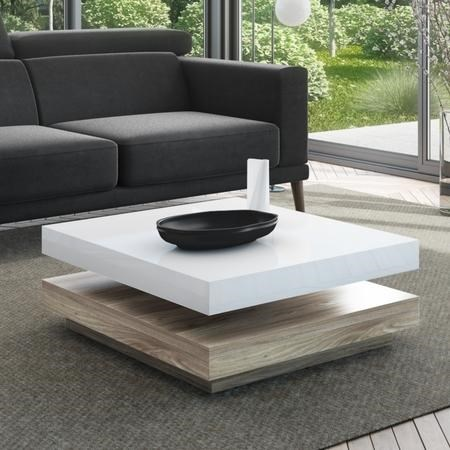 Square Coffee Table in White High Gloss & Light Wood Effect - Tiffany
