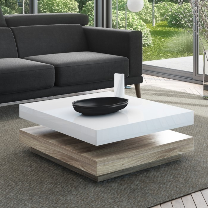 Tiffany White High Gloss Coffee Table With Oak Effect Base