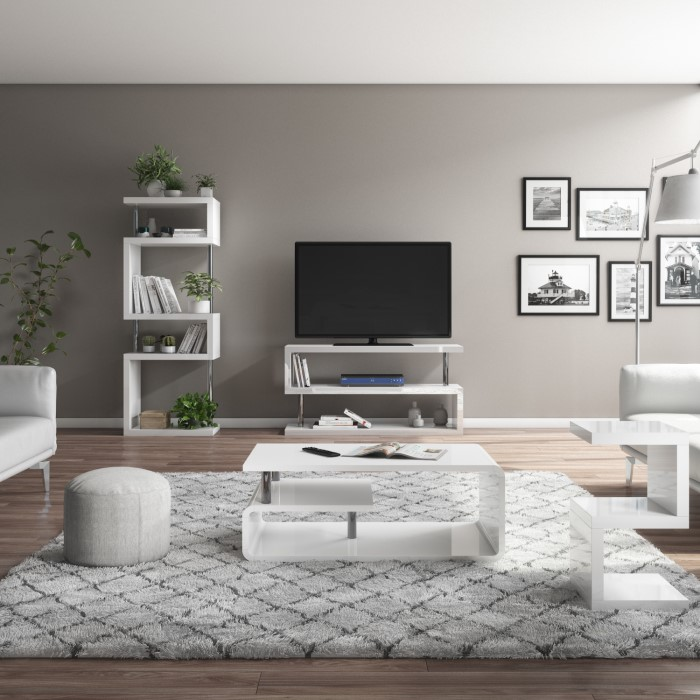 Artemis White High Gloss Bookcase With Geometric Shelf