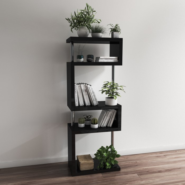 Artemis Black High Gloss Shelving Bookcase