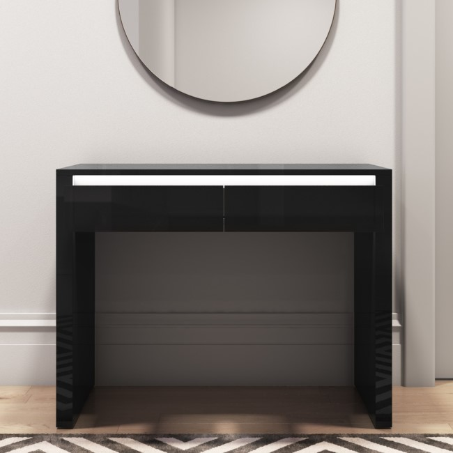 Black Gloss Console Table with LED & Drawers - Tiffany