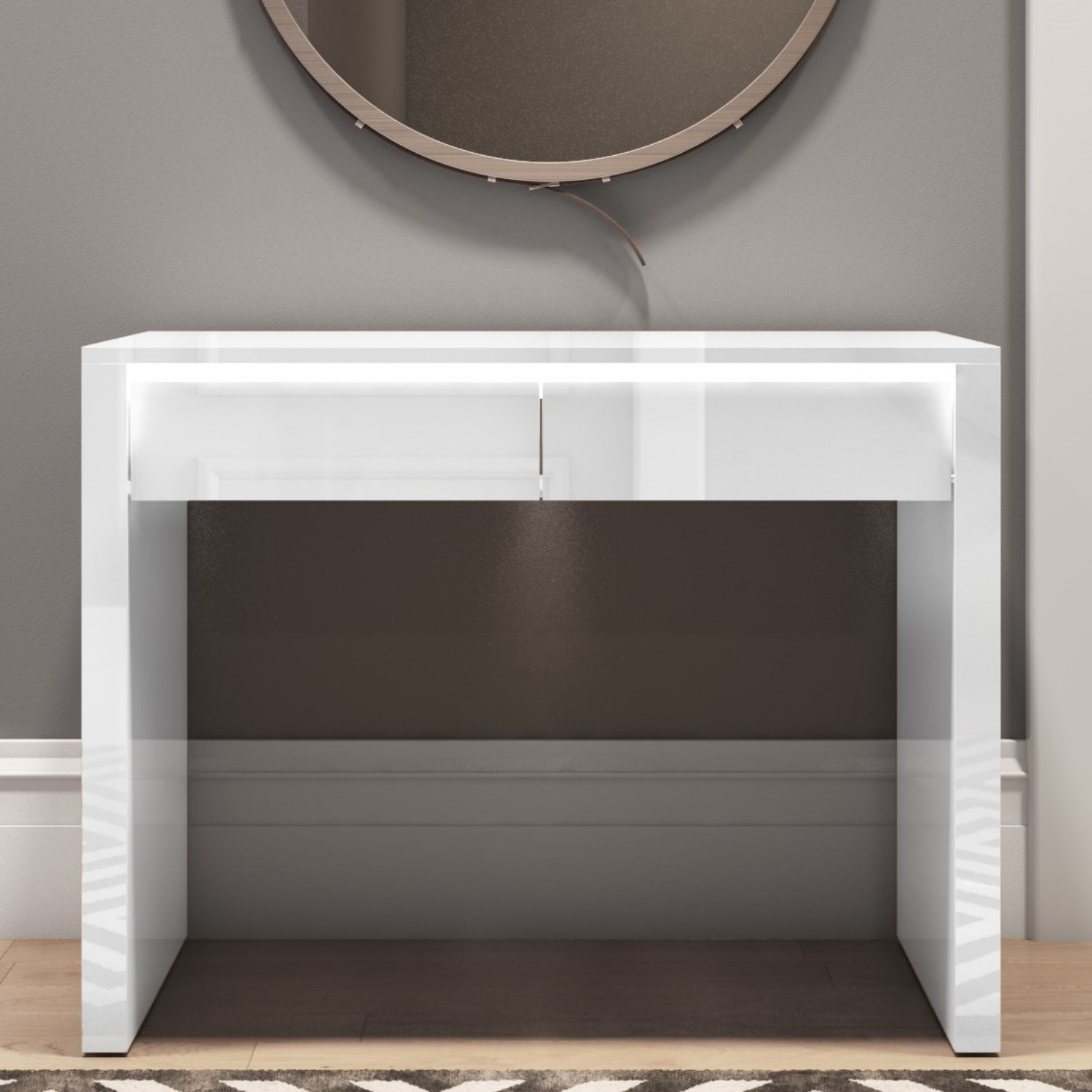 White Console Table With Drawers In Gloss Tiffany