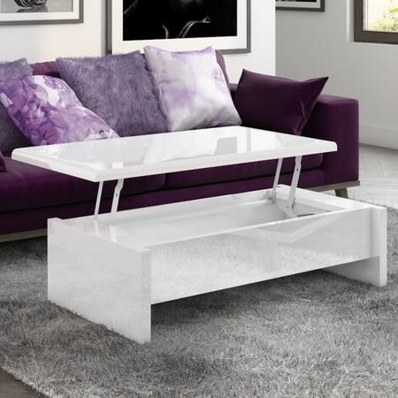 Lift Top Storage Gloss Coffee Table in White - Tiffany