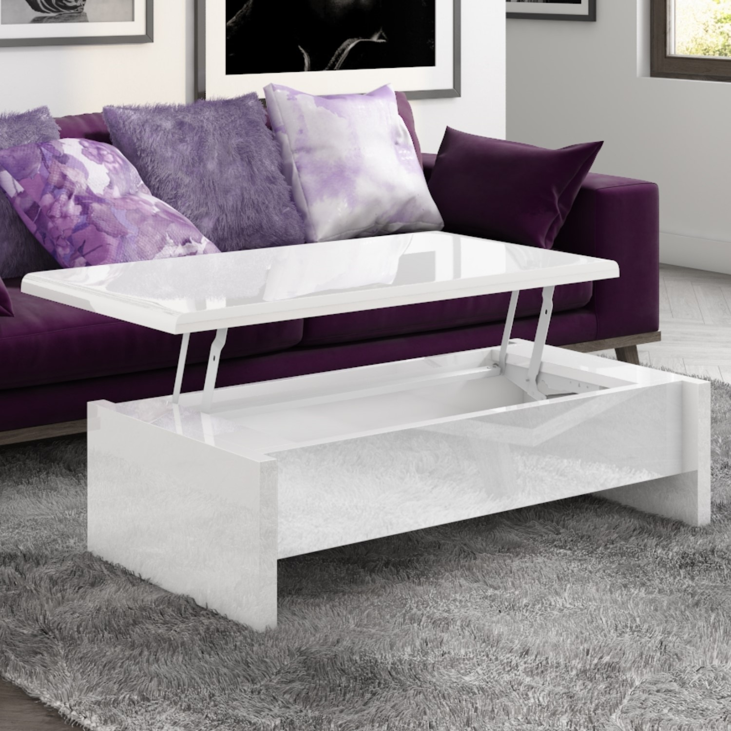 Lift Top Storage Gloss Coffee Table In White Tiffany
