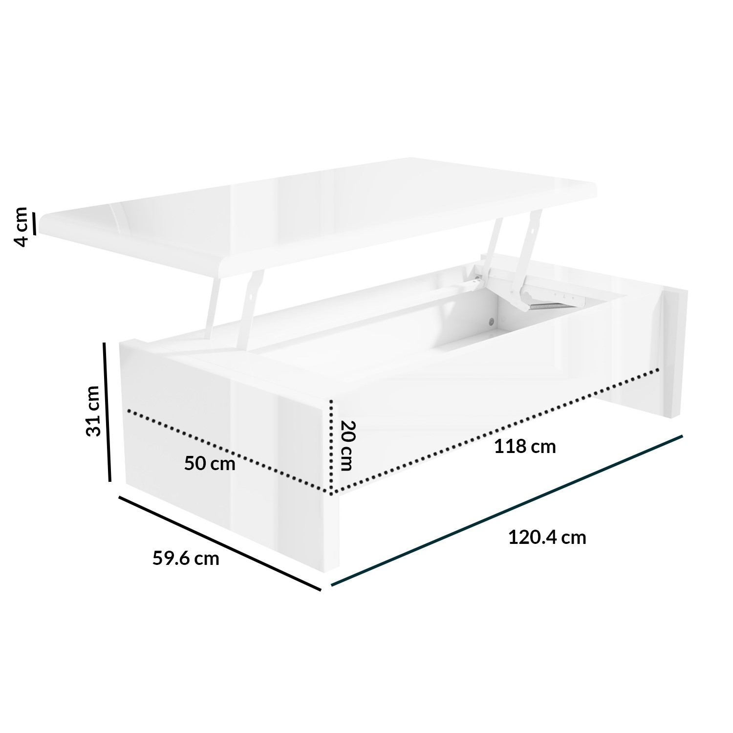 Lift Top Storage Gloss Coffee Table In White Tiffany Furniture123