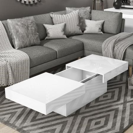 Storage Coffee Table in White High Gloss - Tiffany