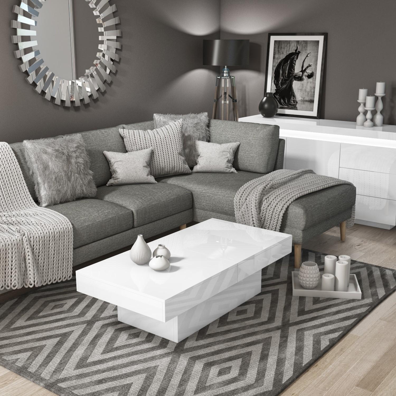 - White Gloss Storage Coffee Table - Rectangular - Tiffany