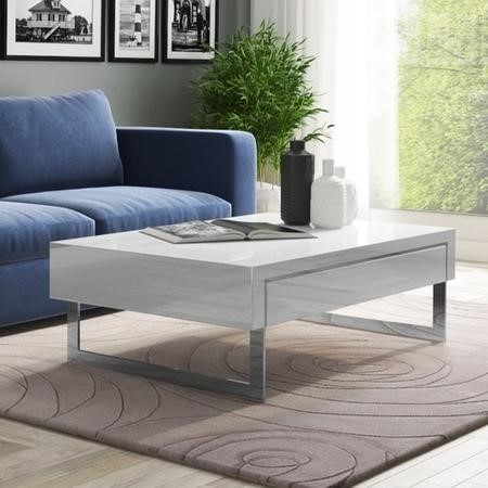 GRADE A1 - Evoque White High Gloss Coffee Table with Storage Drawers