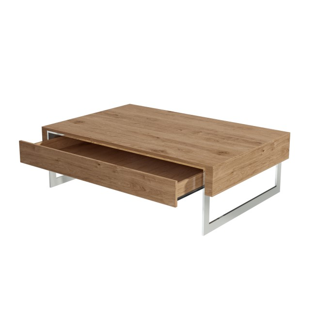 Oak Effect Coffee Table with Storage Drawer - Tiffany