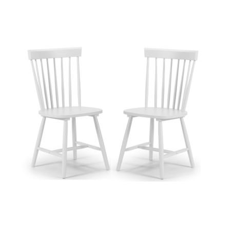 Julian Bowen Pair of White Dining Chairs with Spindle Back - Torino