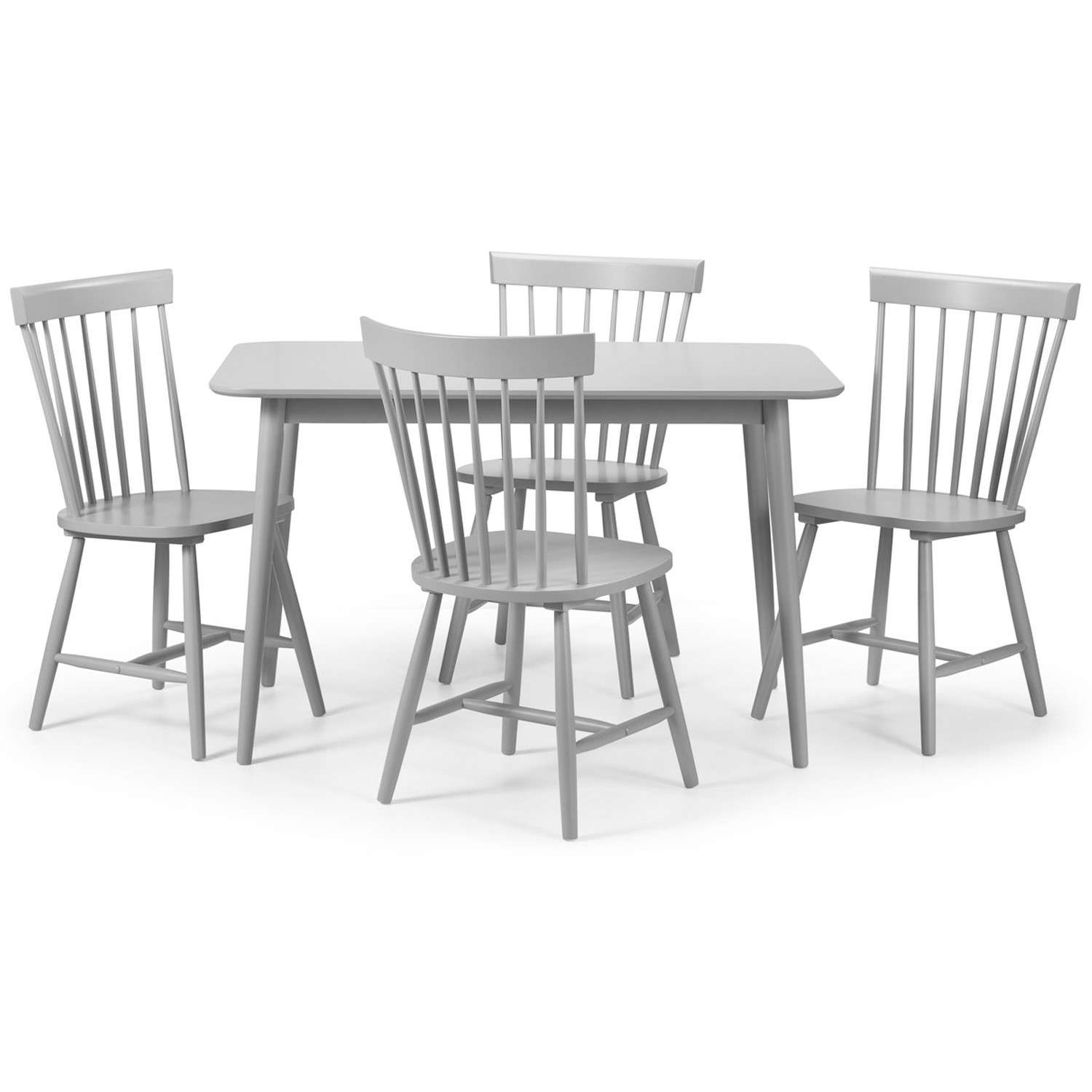 Julian Bowen Torino Grey Dining Table And 4 Torino Grey Chairs